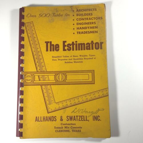 Vintage Estimating Tables Book Building Trades Allhands & Swatzell Texas T4