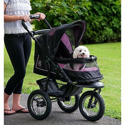 3 Wheel Pet Jogger Stroller for Small Dogs Cats Easy Access No Zip Gear Purple