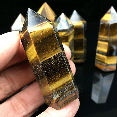 AAA+++ Natural Tiger eye jasper Quartz Obelisk Crystal Wand Point Healing 1pc