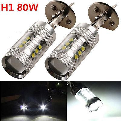 2 X H1 80W 6000K White LED Bulbs Car Fog Tail DRL Light Head Lamp Super Bright