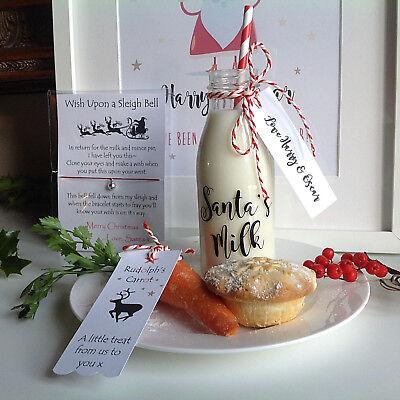 Santa's Milk, Milk For Santa Mini Milk Bottle, With Personalised Tag+ Carrot Tag (Personalized Glass Milk Bottles)