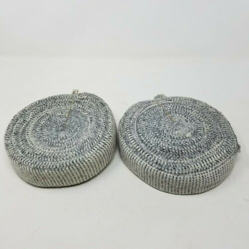 "Rug Braiding Wool Strips Fabric Ribbon Binding Gray Checked 1.5"" Wide 2 Rolls"