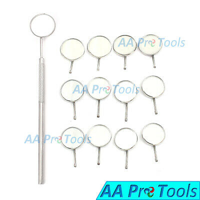 12 Dental Mouth Mirrors 5 Cone Socket With 1 Free Handle