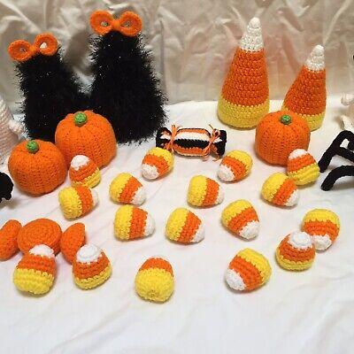 New Handmade Halloween Crochet Set Of 5 Candy Corn Tier Tray Decor, Bowl Fill