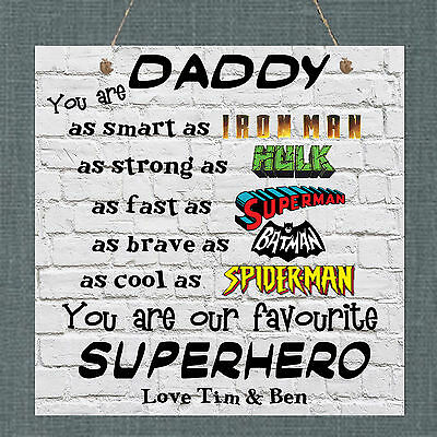 Vatertag Personalisiert Plakette Dad Daddy Uncle Stepdad Opa Superheld