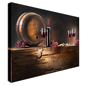 Wine and barrel on old wood canvas art cheap wall print Ebay home interior pictures