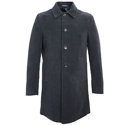 MANUEL RITZ Navy Blue Single Breasted Cotton Peacoat 113C4438 $404 NWT Single Breasted Peacoat