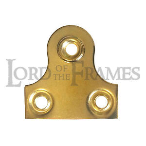 50-x-38mm-1-5-PICTURE-MIRROR-GLASS-PLATES-BRASS-PLATED-SECURE-FRAME-HANGING