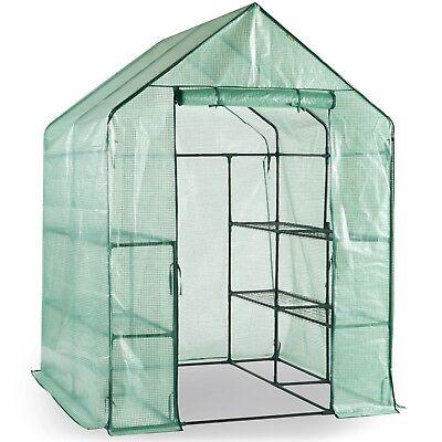 VonHaus Walk In Greenhouse with 8 Shelves, Roll Up Zip Panel Door, Re-enforced
