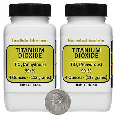 Titanium Dioxide Tio2 99 Acs Grade Powder 8 Oz In Two Easy-pour Bottles Usa