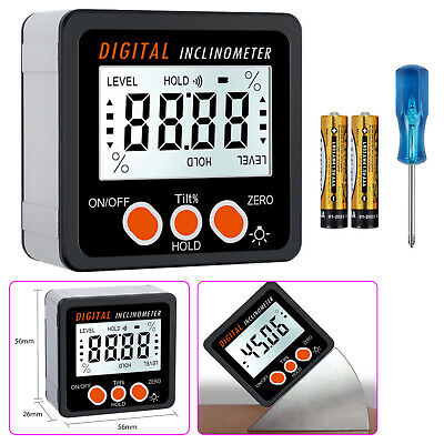 0-360 Level Box Gauge Digital Lcd Protractor Magnetic Inclinometer Angle Finder