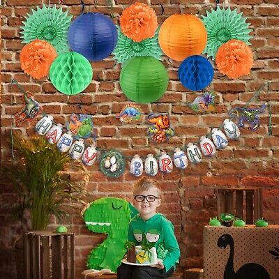 Dinosaur Theme Birthday Party Banner Cake Topper Swirl Lantern Fan Honeycomb Pin (Dinosaur Themed Party)