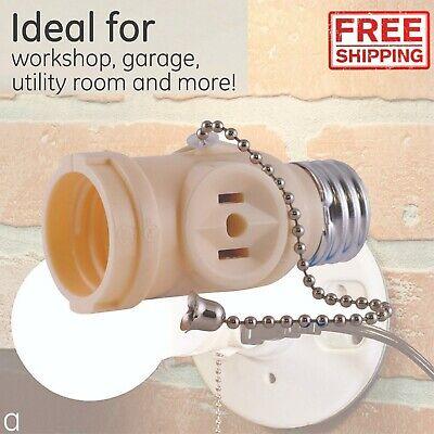 Light Outlet Plug Adapter Pull Chain Control Plug Lamp Connector Socket Workshop