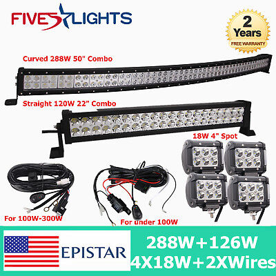 "CURVED 50INCH 288W LED LIGHT BAR DRIVING 22"" 120W COMBO CREE 4""18W SPOT Free kit"