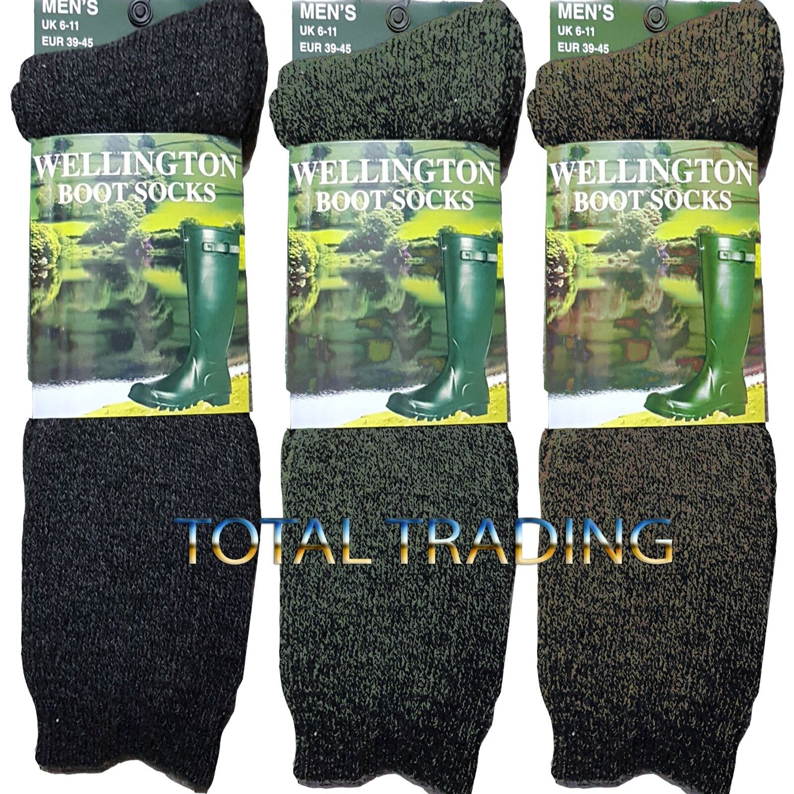 Mens wellington boot socks wellie welly FULLY  CUSHIONED MADE WITH WOOL