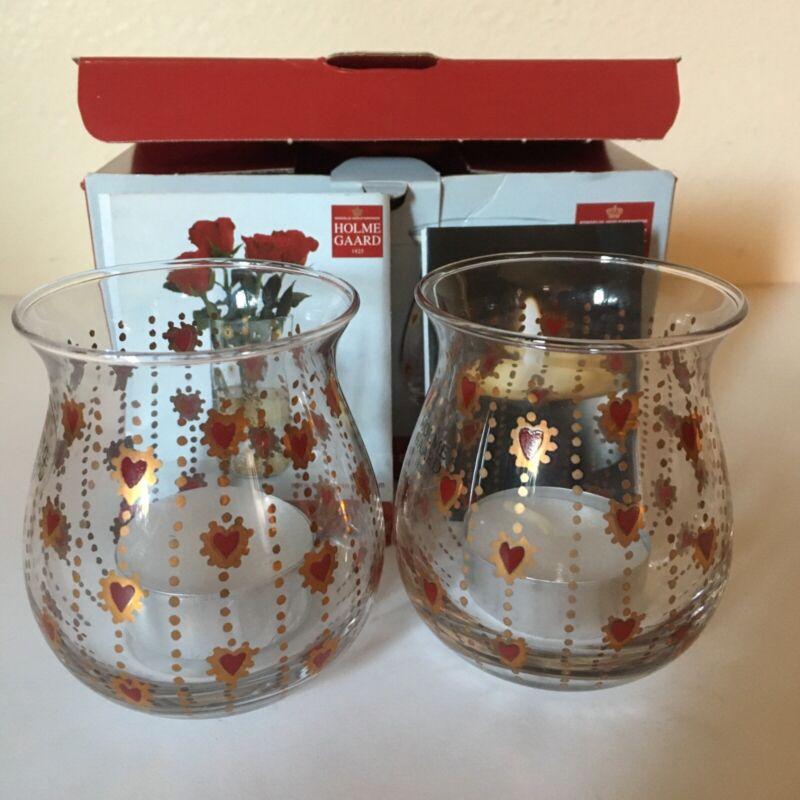 Royal Scandinavia Holmegaard Crystal Christmas 2 Votives candle holder New