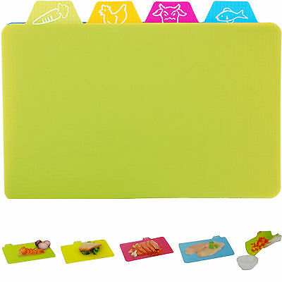 PACK OF 4 x FLEXIBLE PLASTIC CUTTING CHOPPING BOARDS SLICING MATS COLOUR SYMBOL