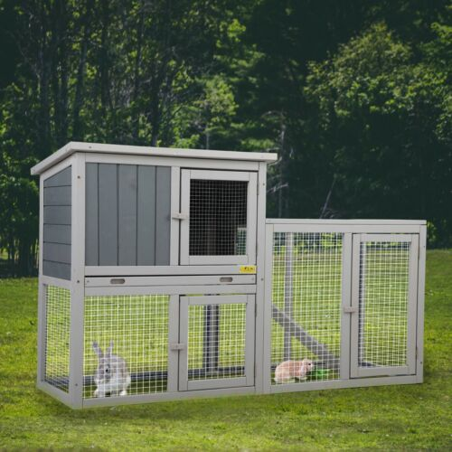 """54.7"""" Rabbit Hutch Outdoor Wooden Pet Bunny House Cage with 3 Doors& Tray&Tunnel"""