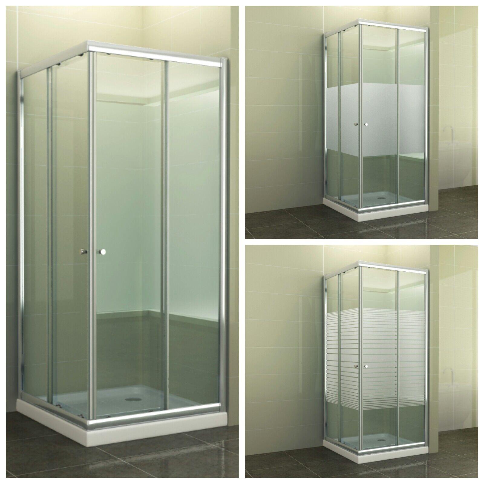 Eckdusche Duschkabine Quadrat Eckeinstieg Schiebetür Duschabtrennung Glas Werra