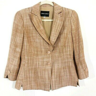 Giorgio Armani Womens Pink/Tan Fully Lined Two Button Blazer Size 40/US 6