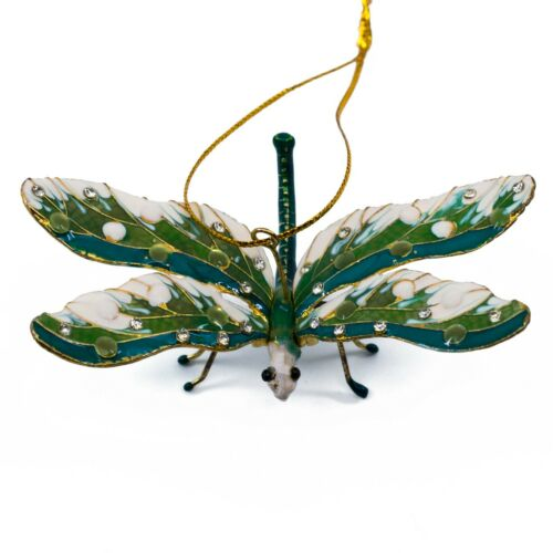 """Cloisonne Enameled Metal Articulated Dragonfly Ornament Movable Wings 3.25"""" Wide"""