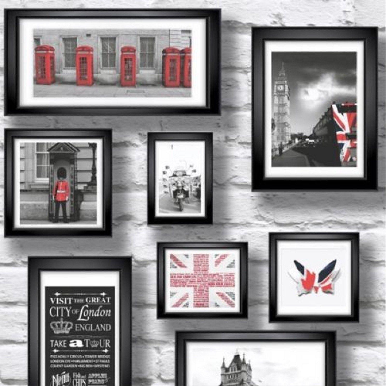 Britain In Frames Wallpaper -White / Black / Red -UK London -New ...