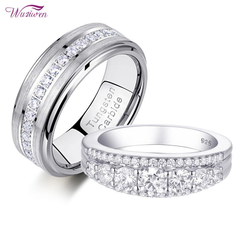 Wuziwen Engagement Wedding Ring Set For Him Her Women Men Tungsten Bands Aaaa Cz