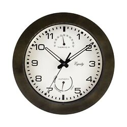 Equity by La Crosse 29005 Outdoor Thermometer and Humidity Wall Clock 10 Metal
