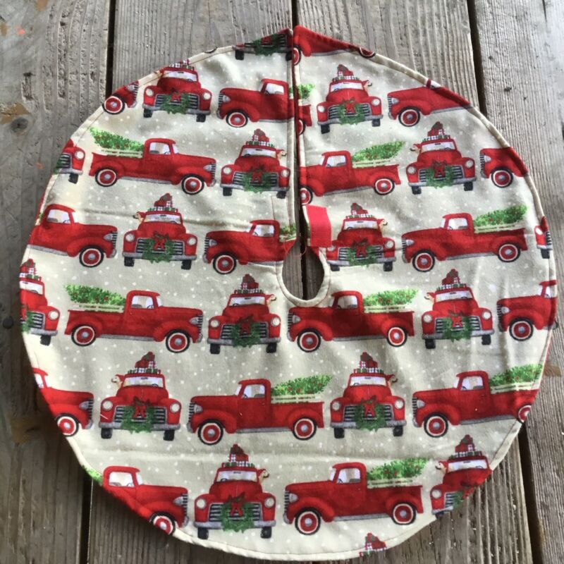 "New Red Pickup Truck Country Mini Table top 20"" Holiday Christmas Tree Skirt"