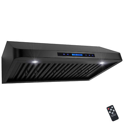 "36"" Under Cabinet Black Stainless Steel Touch Panel Kitchen Range Hood Cook Fan"