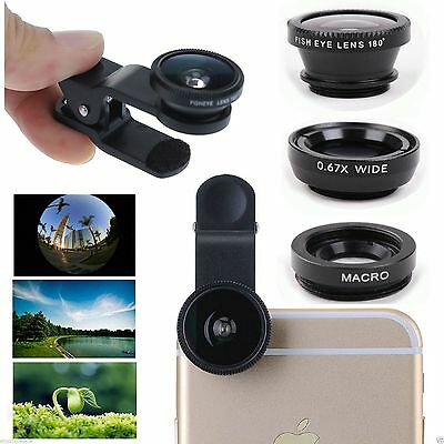 3 in1 FishEye Wide Angle Macro Telephoto Lens Camera for iPhone 6 PLUS 5 5S BK +