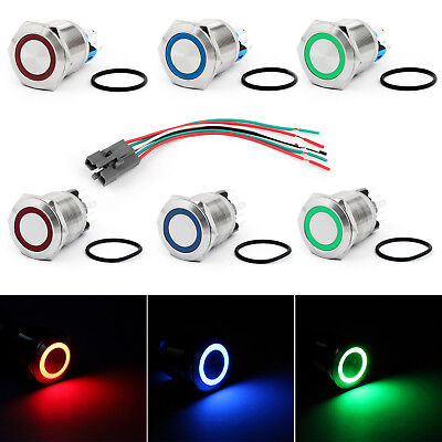 22mm 24v Ring Led Push Button Switch Stainless Steel For Carboatdiy Ue
