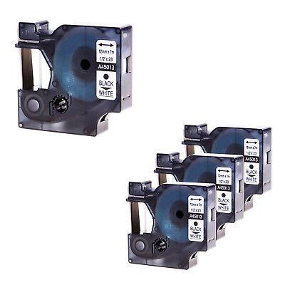 4pk 12mm D1 45013 Black On White Tape For Dymo Labelmanager 100 150 Label Maker