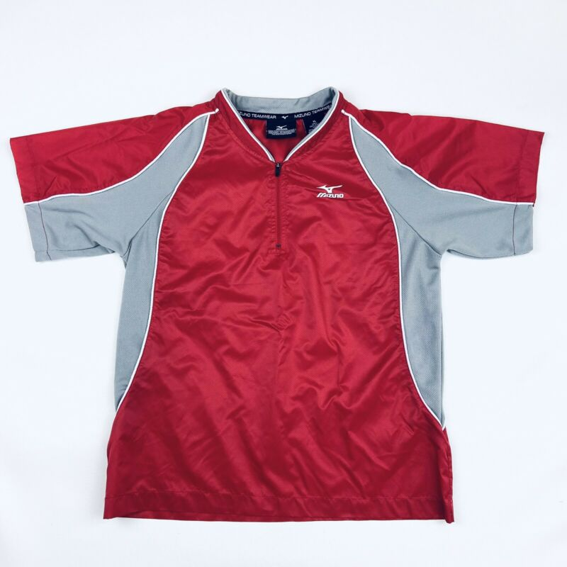 Mizuno Teamwear 1/4 Zip Windbreaker Batting Jersey Jacket Shirt Red Youth Large