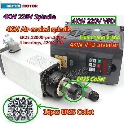 Square 4kw Air Cooling Spindle Motor Er25hy 4kw Inverter Vfd16pcs Collets Cnc
