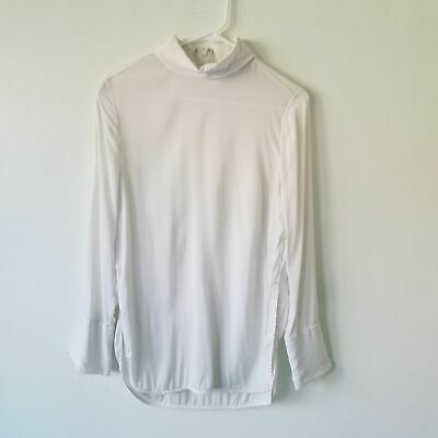 By Malene Birger Silk Blend Off White Mockneck Longsleeve Womens Blouse Size 34