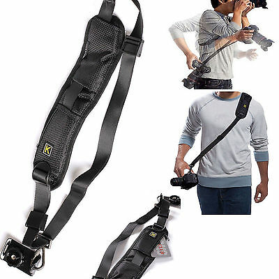Single Shoulder Sling Belt Strap For DSLR Digital SLR Camera Quick Rapid Black