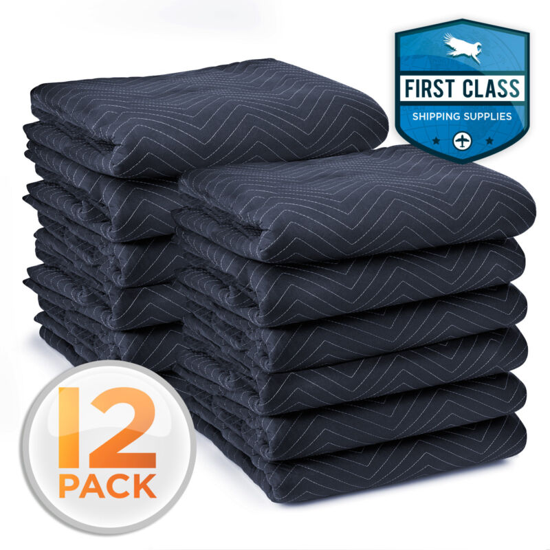 """12 Moving Blankets Furniture Pads - Pro Economy - 80"""" x 72"""" Navy Blue and Black"""