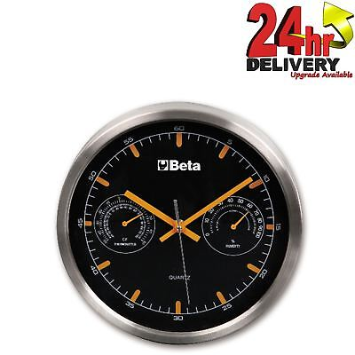 Beta Tools 9594 Aluminium Racing Wall Clock With Thermometer For Garage/Workshop
