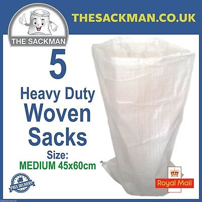 5 Woven Sacks, Heavy Duty Shopping Bags Size 45cmx60cm Woven WPP Reusable Bags
