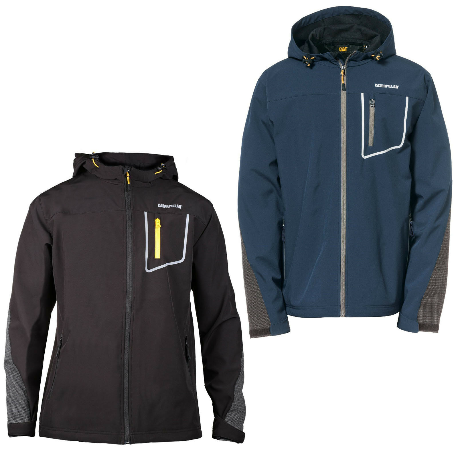 10e440c4 CAT Caterpillar Capstone Hooded Soft Shell Jacket Mens Water Resistant Work  Coat
