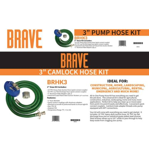 "BRAVE - 3"" Camlock Hose Kit - (Kit includes, 20"