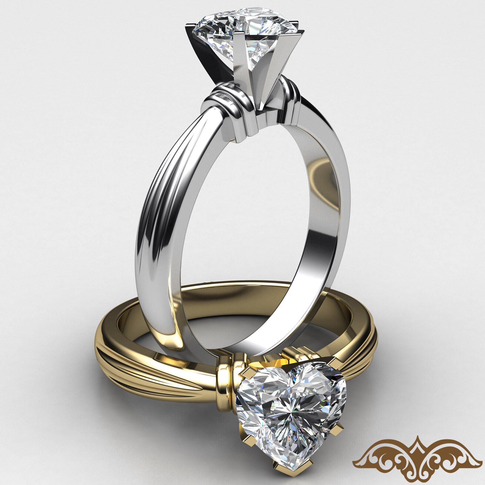 2.6mm Ridged Solitaire Heart Diamond Engagement GIA H SI1 Gold Ring 0.50 ct.
