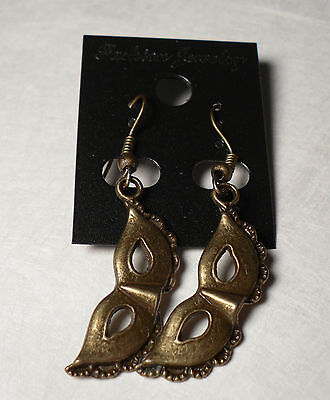 Bronze Costume Party Ball Masquerade Mask Earrings French Hooks FREE SHIP - French Masquerade Costume