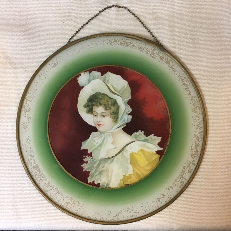 LARGE!! VICTORIAN LADY FLUE COVER ~ HOLIDAY RED & GREEN ~ LITHOGRAPH w/ GLITTER