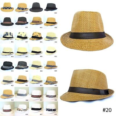 New Unisex Men Women Fedora Short Brim Tribly Black Beige Brown White Hat Cap ](Fedora Black)
