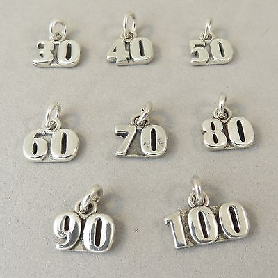 .925 Sterling Silver Small Number DECADE CHARM Birthday Year Pendant NEW # 925