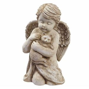 Angel w/Cat Kitten Pet Memorial Statue Garden Decor