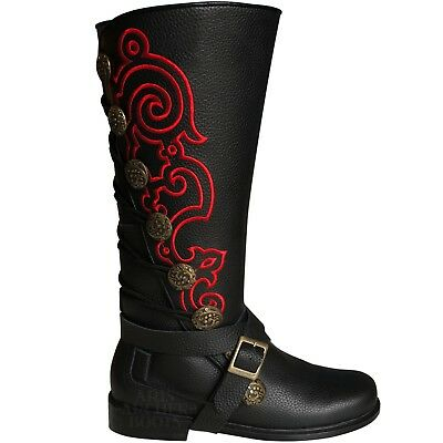Men's Aris Archer Red Embroidery Leather Knee Boots - Renaissance Pirate Cosplay