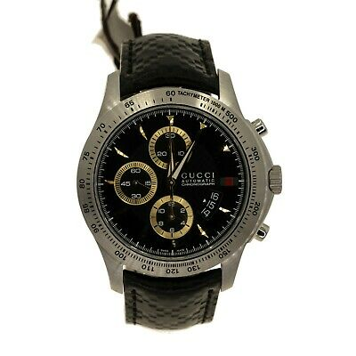Authentic Gucci G-Timeless YA126237 Chronograph Steel Black Leather Mens Watch
